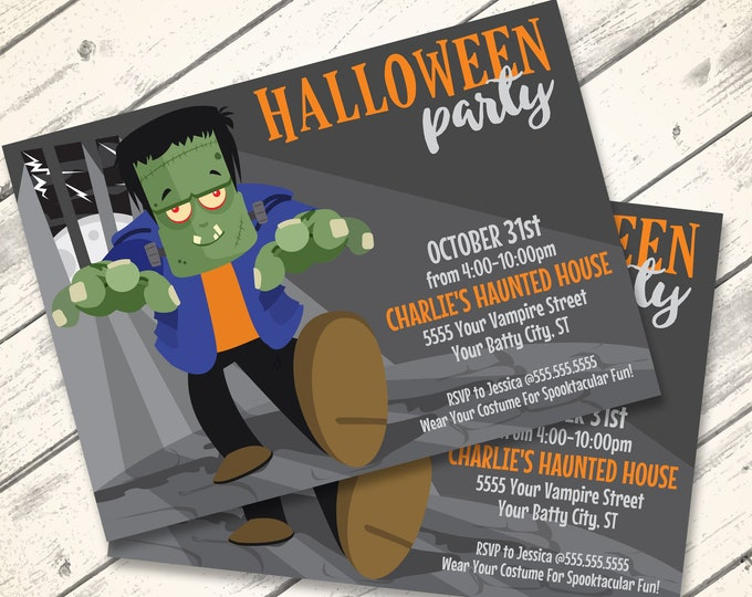 Frankenstein Invitation - Monster Mash, Halloween Party Invitation, Costume Party | Editable Text - DIY Instant Download PDF Printable