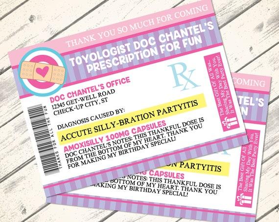 Doc Mc Stuffins Thank You Notes - Prescription Thank You, Doc Birthday, Doctor/Nurse Party   Editable DIY Instant Download PDF Printable