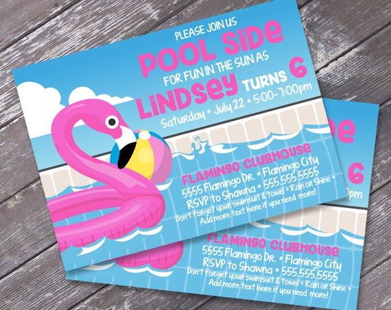 Flamingo Party Invitation - Flamingo Birthday, Flamingle, Pool Party, Summer Party    Self-Edit Text Instant Download PDF Printable Template