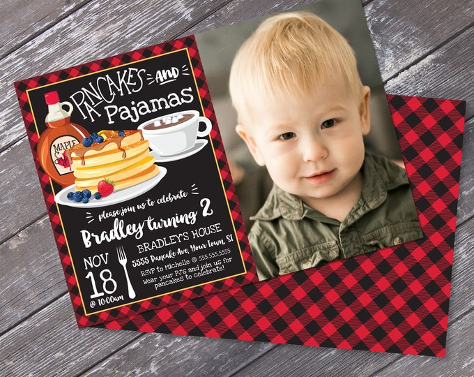 Pancakes & Pajamas PHOTO Invitation - Pancake Birthday Party, Lumberjack Breakfast | DIY Editable Text INSTANT Download Printable