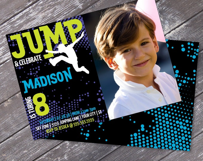 Jump Party Photo Invitation Printable - Trampoline Invitation, Jump & Play, Bounce On Over | Editable Text-Instant Download PDF Printable