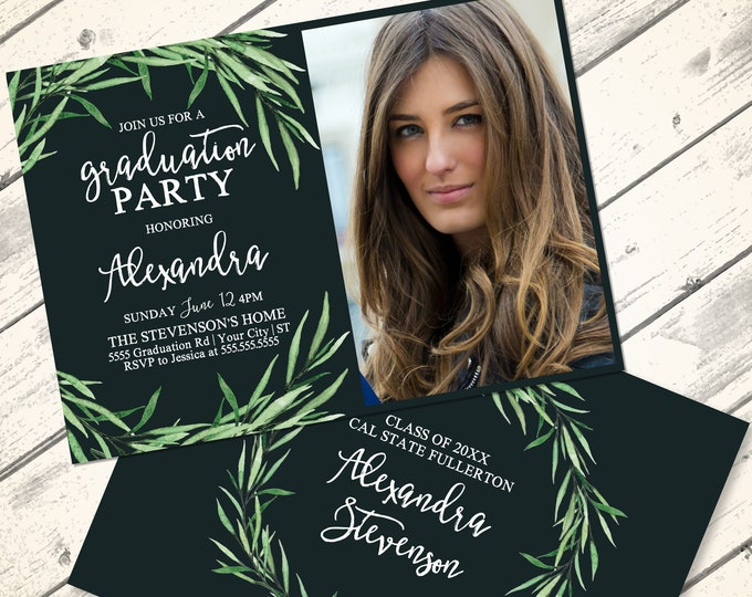 Boho Leaves Graduation Party Invitation - Graduation Celebration, University, High School   Editable Text Instant Download PDF Printable