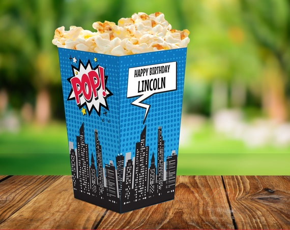Superhero Popcorn Box - Superhero Party, Superhero Birthday, Superhero Decor, Superhero Box | Editable Text INSTANT Download PDF - Printable