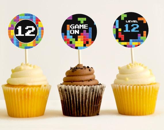 Retro Video Game Party Cupcake Toppers - Retro Game Party, Gamer Party Toper, Video Game Birthday | Instant Download DIY Printable PDF