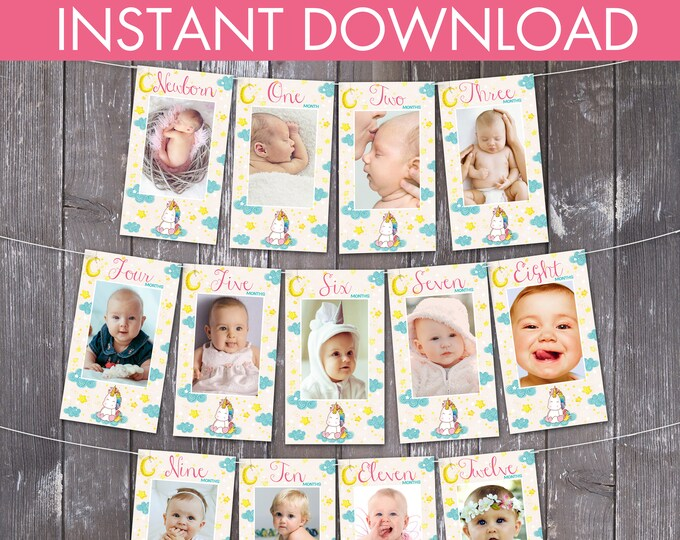 Unicorn First Year Photo Banner, Unicorn Party, Magical Birthday | Editable Text - DIY Instant Download PDF Printable