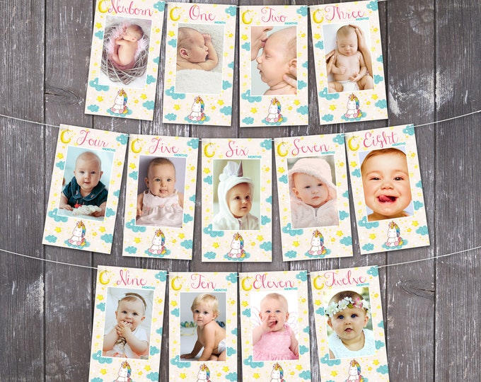 Unicorn First Year Photo Banner, Unicorn Party, Magical Birthday   Editable Text - DIY Instant Download PDF Printable