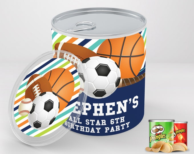 Sports Party Mini Pringles Label - Sports Mini Pringles Wrapper, Sports Birthday   Editable Text - Instant Download PDF Printable