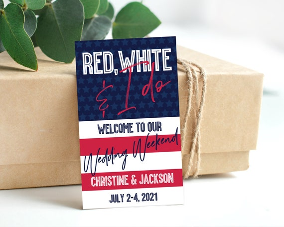 Red, White & I Do 3x5 Tag/Sticker, 4th of July, Patriotic, Memorial Day,Labor Day | Self-Edit with CORJL - INSTANT DOWNLOAD Printable