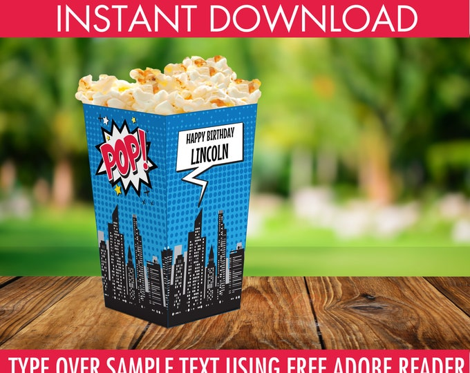 Superhero Popcorn Box - Superhero Party, Superhero Birthday, Superhero Decor, Superhero Box   Editable Text INSTANT Download PDF - Printable