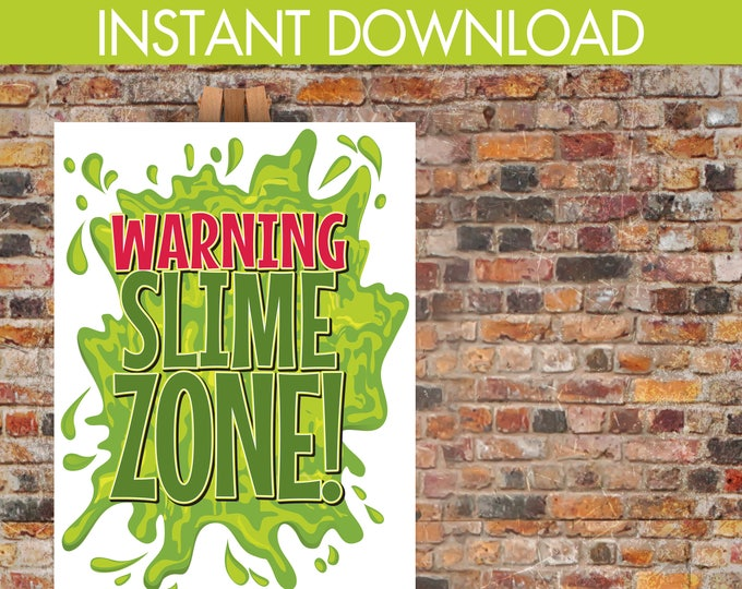 Slime Zone Party Poster - 18x24 Poster, Ghostbuster Party, Ghostbuster Birthday, Slime, Halloween Party | INSTANT Download DIY Printable PDF