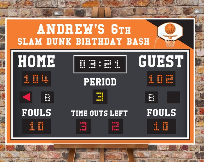 "Basketball Scoreboard Printable 24""x36"" Poster - Scoreboard Sign, Basketball Birthday,Self-Editing Text 