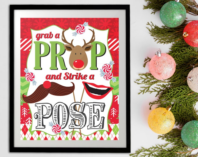 """Ugly Sweater Photo Booth Prop Sign - 8""""x10"""" Sign, Grab a Prop and Strike a Pose Sign, Pre-Typed Sign  