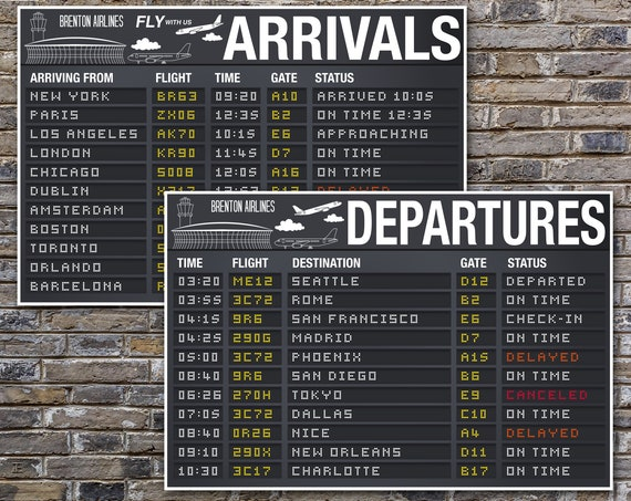 Airplane Party Poster - 24x36 Arrival & Departure TWO Sign Set, Airport Terminal Signs, Aviator Decor | Instant Download Printable Template
