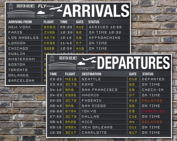 "Airplane Party Posters - 24""X36"" Arrival & Departure Signs, Airport Terminal Signs 