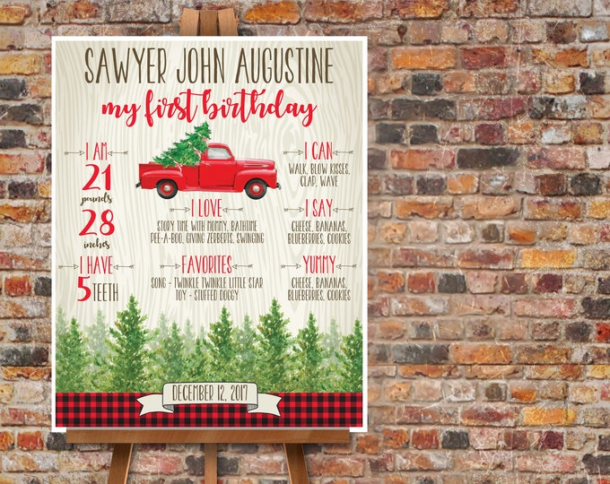 Truck On Over Birthday Milestone Poster - Red Truck Stats Poster, Lumberjack, Self-Editing | DIY Instant Download PDF Printable