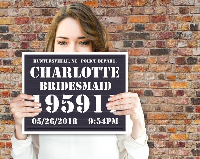Bachelorette Party Mugshot Board - Police Slate Sign - Bridal Shower, Secret Agent Party | Editable Text INSTANT Download DIY Printable PDF