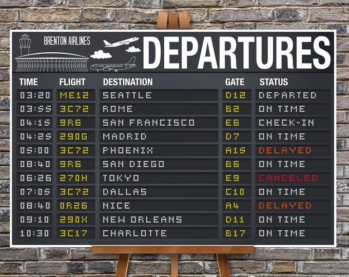 "Airplane Party Poster - Departure Sign, Airport Terminal Sign, Aviator Decor- 24""X36"" 
