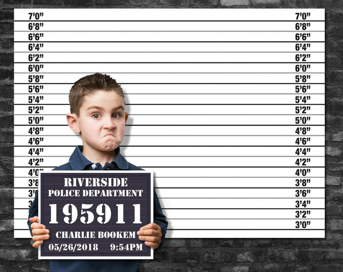"Mugshot Backdrop 36""x48"" & Mugshot Board Set - Cops and Robbers, Spy, Secret Agent Party, Police Party 