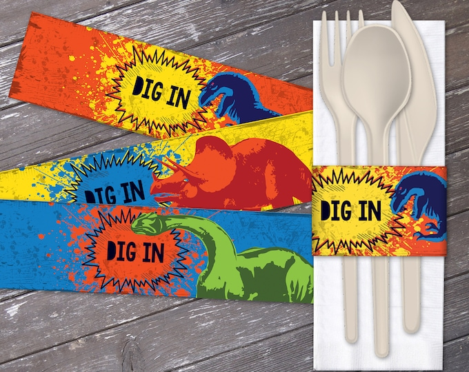 Dinosaur Party Napkin Wraps - Dig In Napkin Wrapper, Dinosaur Party, Dinosaur Birthdays | Editable Text - DIY Instant Download PDF Printable