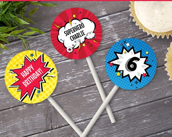 "Superhero 2"" Cupcake Circles, Superhero Party, Superhero Birthday, 2"" Cupcake Toppers 
