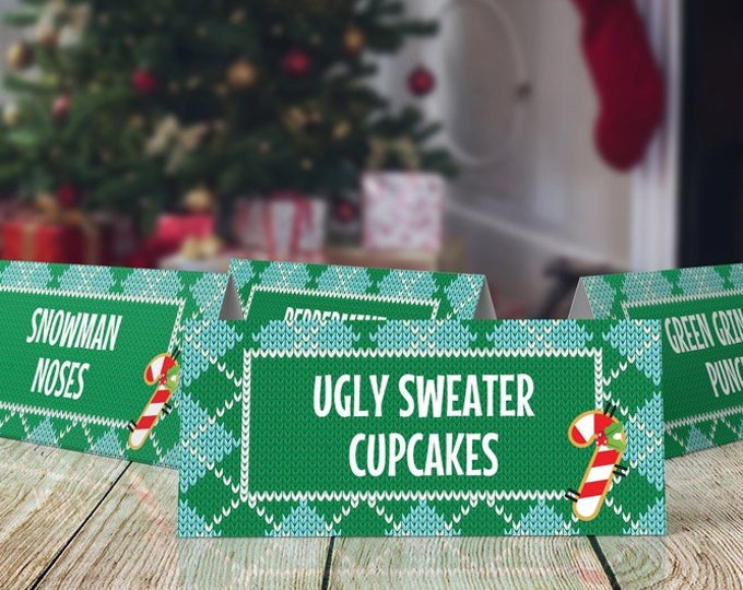 Christmas Food Labels - Ugly Sweater Party, Name Place Cards, Buffet Tags, Office Party | EDITABLE Text - INSTANT Download Printable PDFs