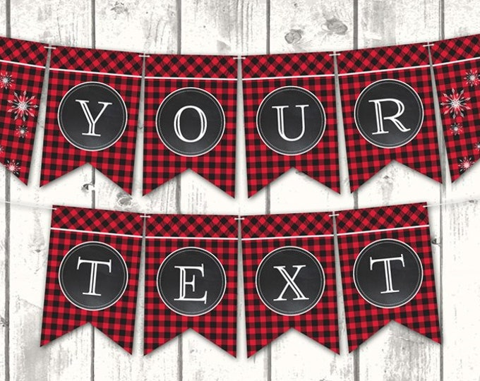 Flannel & Frost Banner - Buffalo Plaid Banner, Hot Cocoa, Winter Party, Lumberjack | Editable Text DIY INSTANT Download Printable PDF