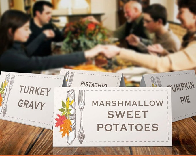 Thanksgiving Food Labels - Name Place Cards - Buffet Tags - Autumn Party, Office Party - EDITABLE Text - INSTANT Download Printable 2 PDFs