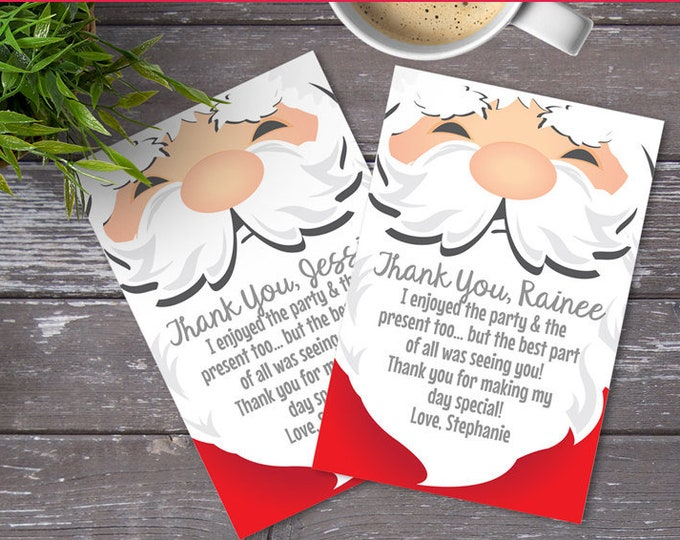 Santa Thank You Cards, Christmas Thank You, Christmas Card, Santa Baby, Santa Note Card | Instant Download PDF Printable