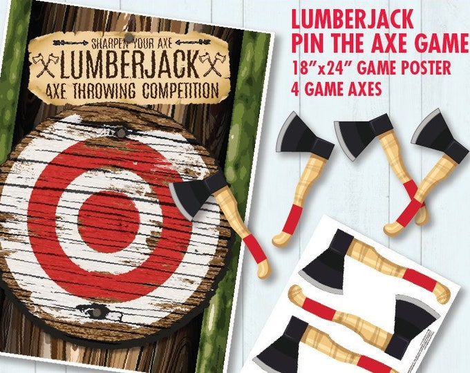 """Lumberjack Party - Pin the Axe Game - """"Axe Throwing Game"""" - Lumberjack Party Game - INSTANT Download PDF - Printable Game"""