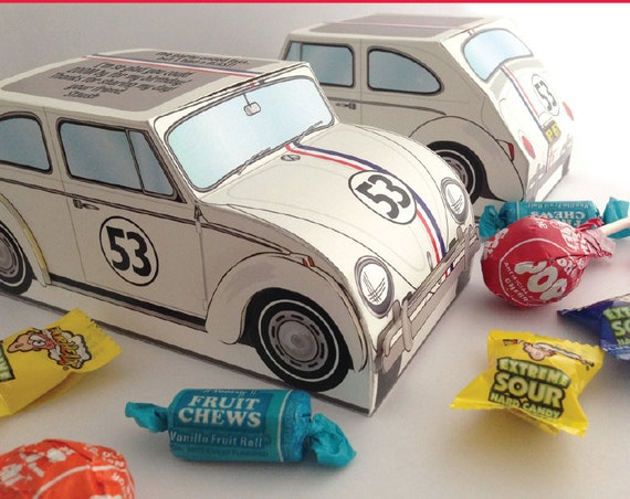 Beetle Bug Box - Herbie - Love Bug - Birthday Party, Favor Box - Retro Inspired - INSTANT download DIY Printable PDF Kit