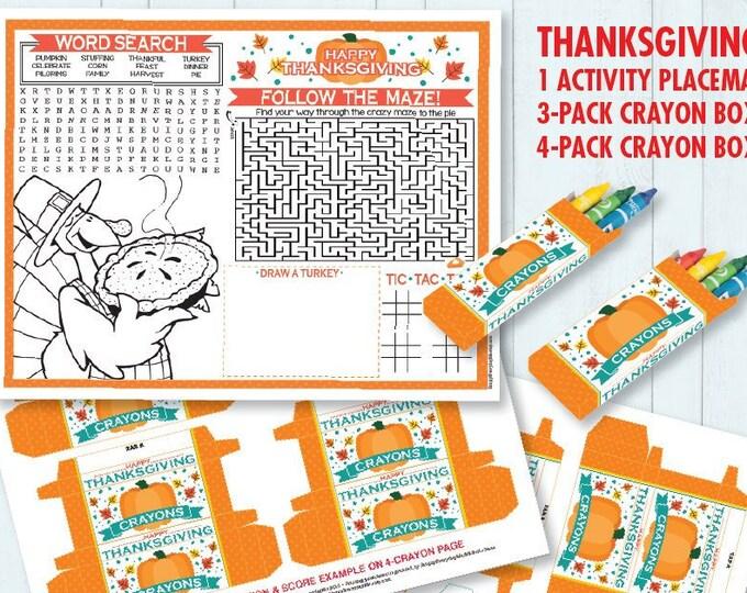 Thanksgving Party Placemat & Crayon Box, Game Placemat, - DIY Printable Kit INSTANT Download PDF