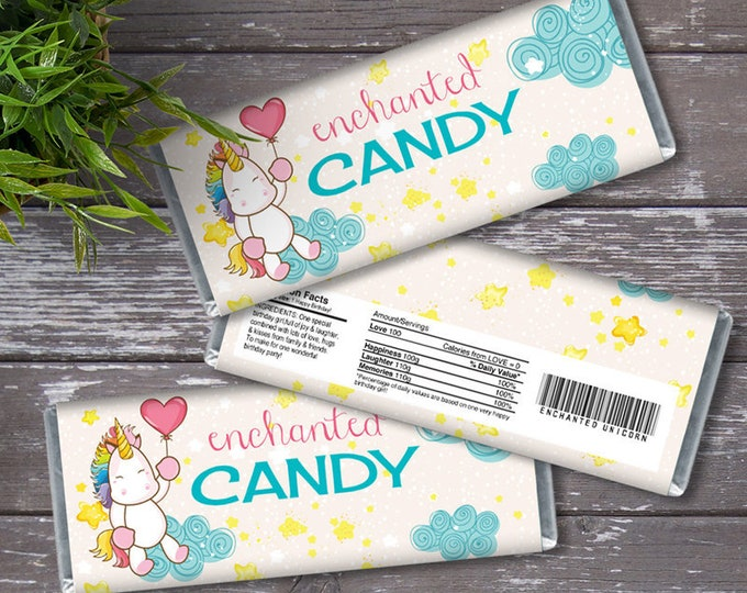 Unicorn Candy Bar Wrappers - Unicorn Favor, Chocolate Labels, Unicorn, Rainbow, Magical | Editable Text - Instant Download PDF Printable