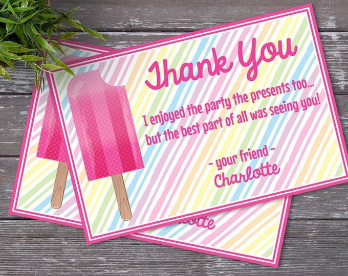 Popsicle Party Thank You Note - Popsicle Birthday, Ice Lolly, Ice Pop, Self-Editing | DIY Editable Text INSTANT DOWNLOAD Printable