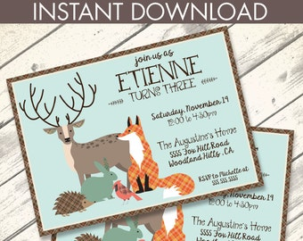 Woodland Birthday Invitation, Forest Friends, Whimsical Invite, Woodland Animals | Editable Text - Lndscp DIY Instant Download PDF Printable