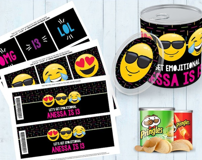 Emoji Party Mini Pringles Label - Emoji Mini Pringles Wrapper, Emoji Birthday, Emoji Party | Editable Text - Instant Download PDF Printable