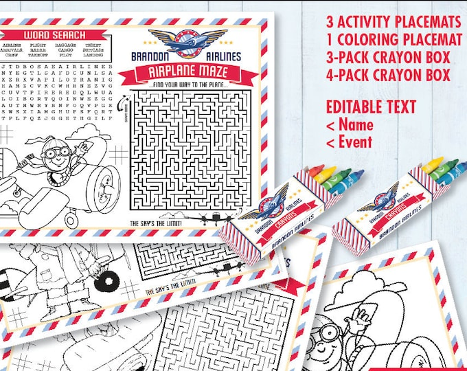 Airplane Party Placemat - Aviator Party, Plane Activity Page, Crayon Box, Game Placemat | DIY Printable Kit INSTANT Download PDF SEM102_17