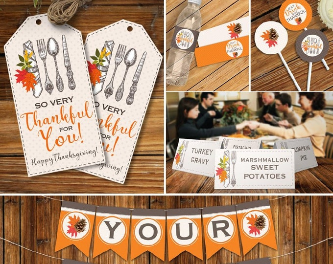 Thanksgiving Party Printables, Decor Printables, Thanksgiving Dinner Theme Party Set | INSTANT Download Printable PDFs