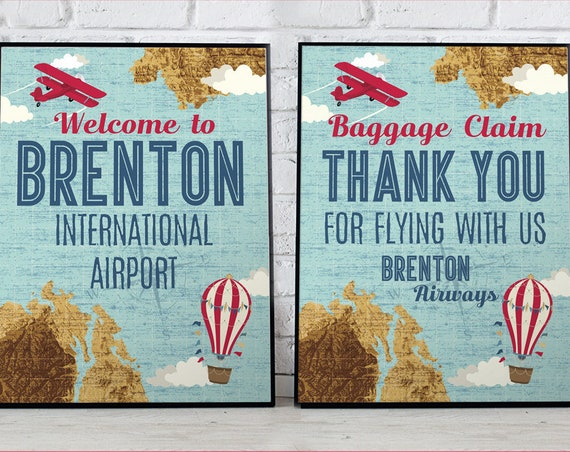 """Retro Airplane 8""""x10"""" Signs - Hot Air Balloon Sign, Aviator Signs - Map Signs, 1st Birthday - DIY Instant Download PDF Printable SEM102_21"""