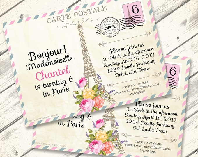 Paris Postcard Invitation - Paris Birthday Party, Postcard to Paris, First Birthday - DIY Instant Download PDF Printable
