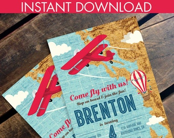 Retro Airplane, Hot Air Balloon, Aviator Birthday Invitation - Map Plane Party Invite, 1st Birthday - DIY Instant Download PDF Printable