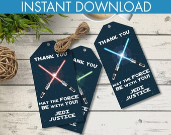 Star Wars Party Favor Tags - Thank You Tags, Birthday Party Favors, Star Wars Birthday | Editable Text - DIY Instant Download PDF Printable
