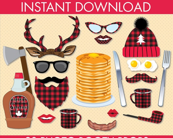 Lumberjack Silly PLAID Photo Booth Props - PLAID Lumberjack Party, Woodland, Great Outdoors - 19 DIY Printable Props Instant Download PDFs