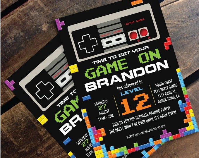Video Game Birthday Party Invitation - NES/Tetris Inspired, Nintendo | Editable Text At Home - INSTANT Download D.I.Y. Printable PDF Kit
