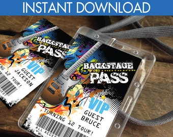 Rockstar Party Backstage Pass - VIP Badge,Party like a Rockstar,Rock n Roll, Self-Editing | D.I.Y. Editable Text INSTANT DOWNLOAD Printable