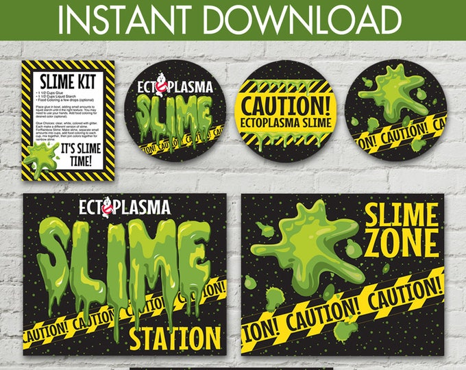 """Ghost-busters Slime Set - Slime Jar Lid Labels, 8.5""""x10"""" Signs, Editable Slime Recipe Cards, Party Set 