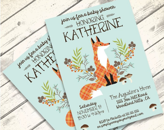 Woodland Shower Invitation, Baby Shower, Forest Friends, Woodland Animals, Fox | Editable Text - Vertical DIY Instant Download PDF Printable