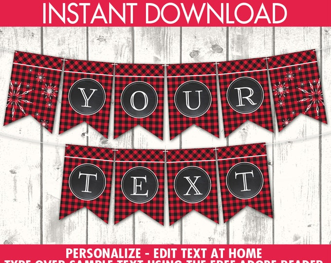 Flannel & Frost Banner - Buffalo Plaid Banner, Hot Cocoa, Winter Party, Lumberjack   Editable Text DIY INSTANT Download Printable PDF