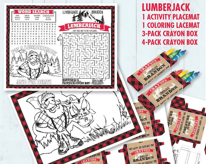 Lumberjack Party Placemat - Lumberjack Birthday , Activity Page, Crayon Box, Game Placemat - DIY Printable Kit INSTANT Download PDF