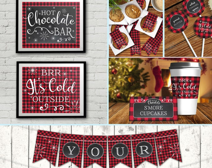 Hot Chocolate Bar Party Set - Hot Chocolate Party,Hot Cocoa Party,Holiday Party, Self-Editing | DIY Editable Text INSTANT DOWNLOAD Printable