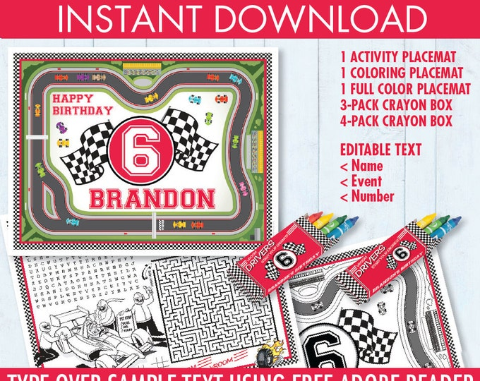 Race Car Party Placemat - Cars Party, Formula One Party, Activity Page, Crayon Box, Game Placemat - DIY Printable Kit INSTANT Download PDF